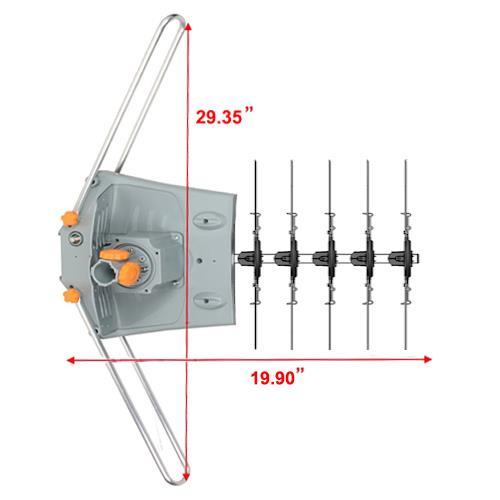 200 Mile 1080P 4K HDTV Outdoor TV Antenna Motorized Amplified 36dB 360° Rotation