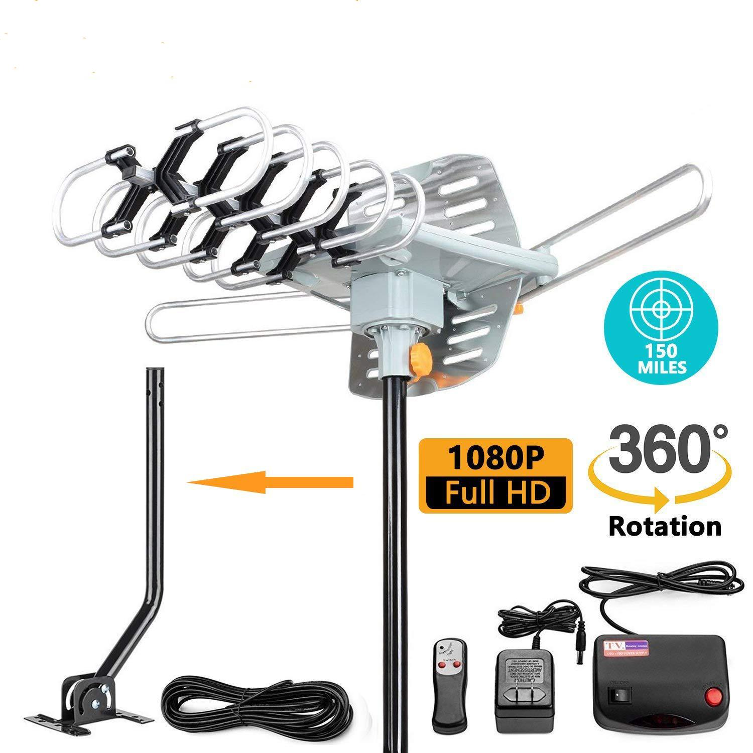 Pole 150miles TV Antenna Amplified Long Range Outdoor HD Digital 360°Rotating