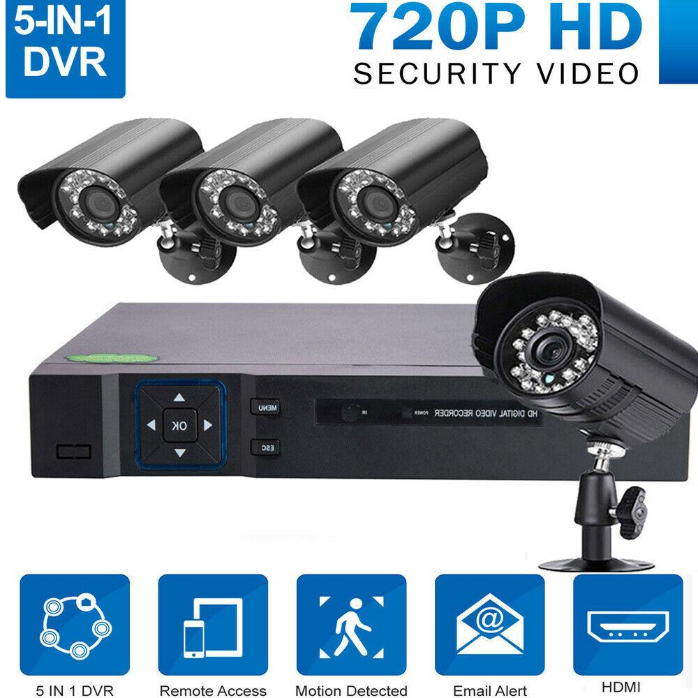 4CH 1080N 5IN1 DVR Outdoor Waterproof IR-CUT Camera Security System Motion Alarm