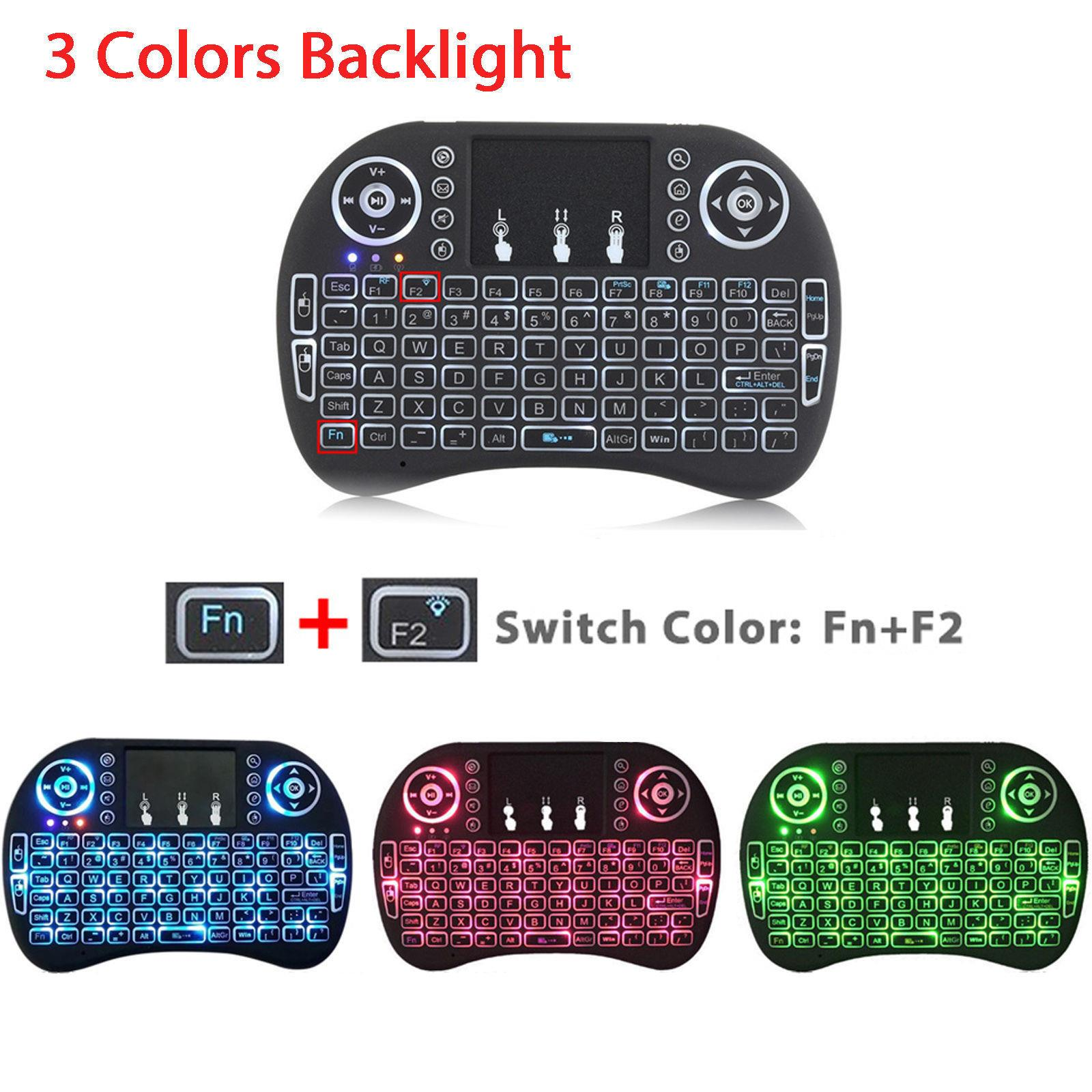 Calvas Mini Backlit Keyboard USB 2.4 GHz Wireless Air Mouse Touchpad Keyboard handheld Remote Control for Android TV BOX Smart TV PC Color: Li-ion Battery