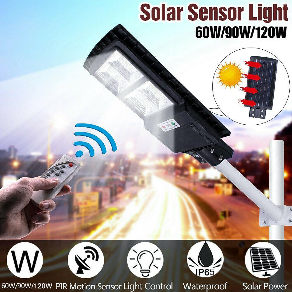 20//40//60//90W Solar Powered LED Street Light Indution PIR Motion Sensor Wall Lamp