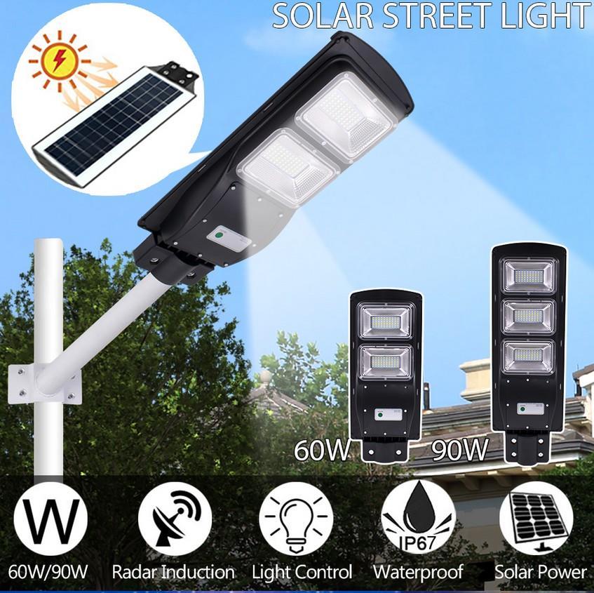Solar Powered Motion Sensor 60 LEDs Yard Wall Lamp Floodlight Garage Lamp+Remote
