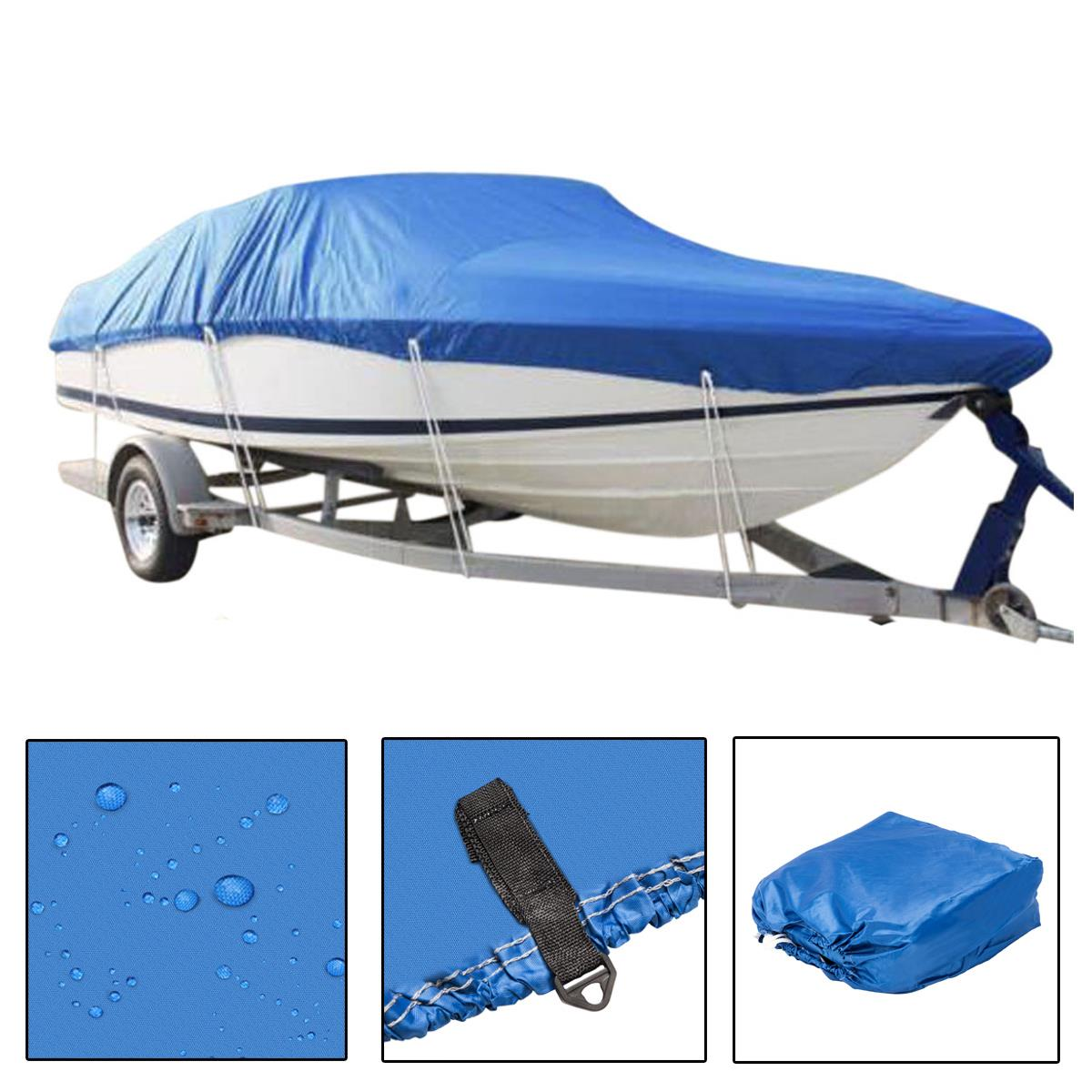 Blue Color 210D Oxford Fabric Waterproof Boat Cover 17 Ft 18 Ft 19 Ft.