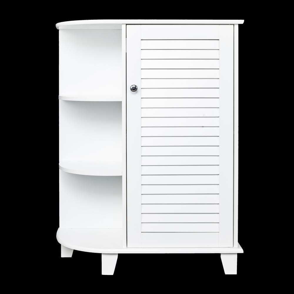 White Wooden Bathroom Floor Cabinet Storage Cupboard 3 ...