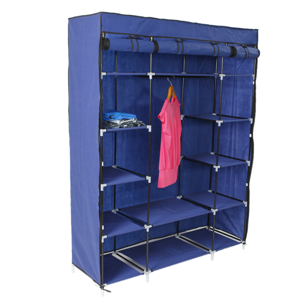 "53/"" Portable Closet Wardrobe Clothes Rack Shelf Large Storage Space Organizer"
