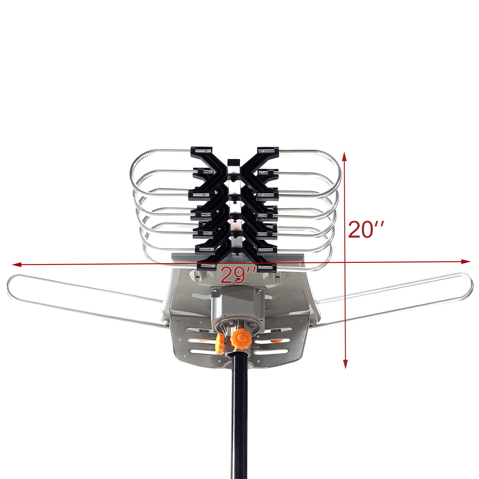 Pole HDTV Outdoor Amplified TV Antenna HD 36dB Rotate 360° UHF//VHF//FM 150Miles