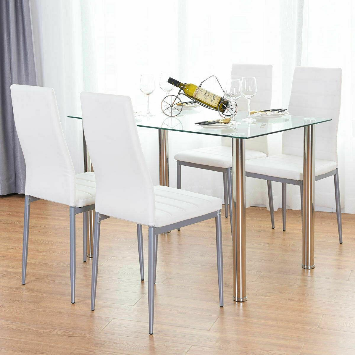 Details about 5 Piece Dining Table Set White 4 Chair Glass Metal Kitchen  Dining Room Breakfast