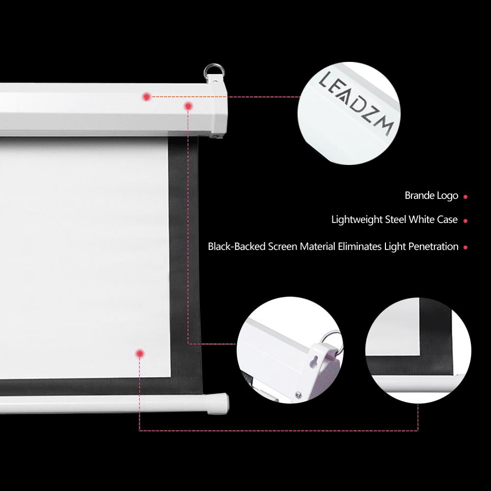 """Matte White 100/"""" 4:3 Projector Screen Manual Pull Down Projection"""