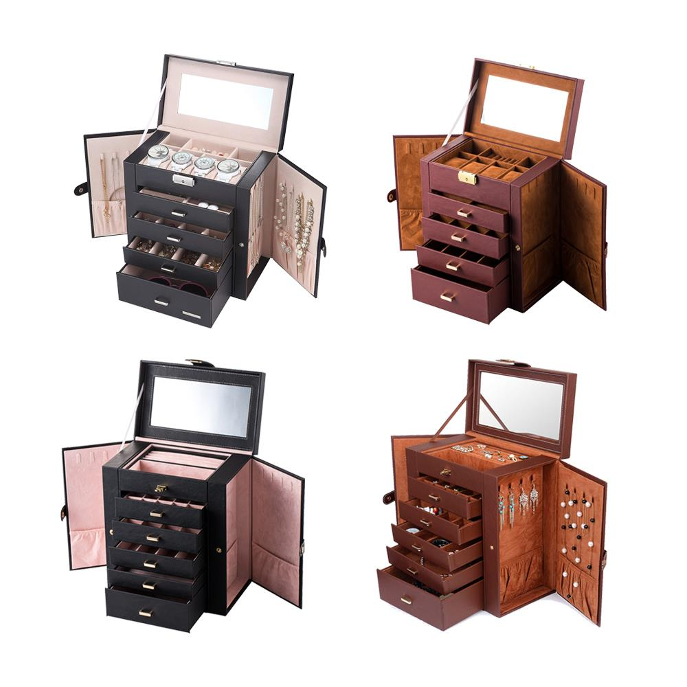 Jewelry Box Storage Organizer Case Ring Earring Necklace Mirror