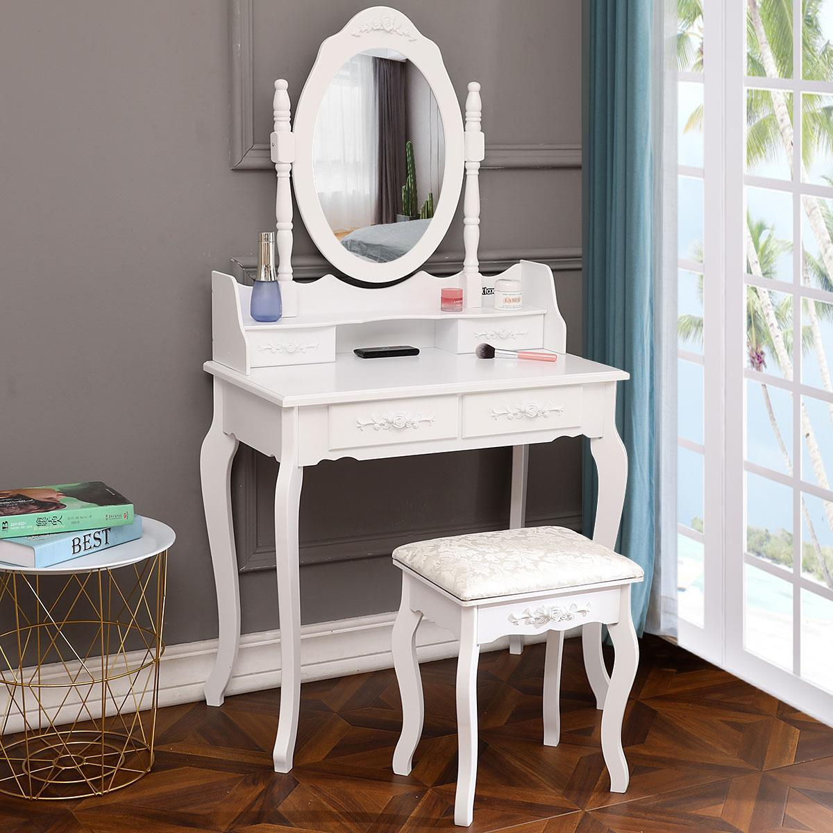 Vanity Desk With Mirror Bedroom Makeup Table For Girls Storage Modern Furniture Ebay