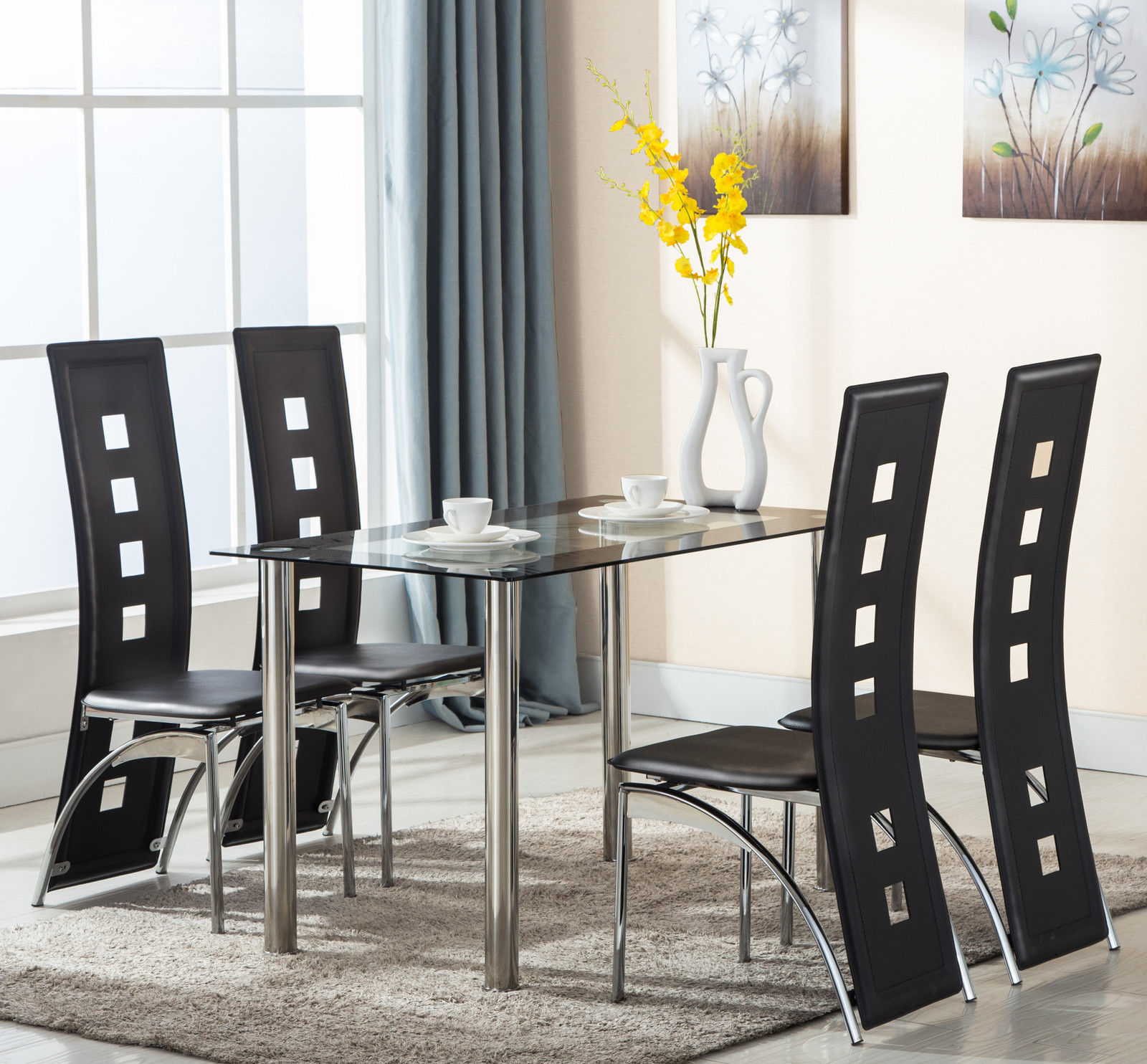 Details about 5 Piece Tempered Glass Dining Table and Chairs Set Kitchen  Furniture Black