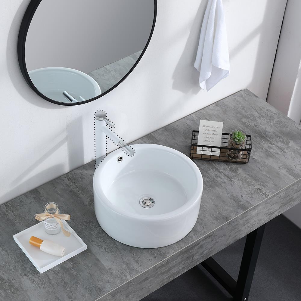 Round Bathroom Sink Porcelain Ceramic Vessel Vanity Basin Bowl Pop Up Drain Ebay