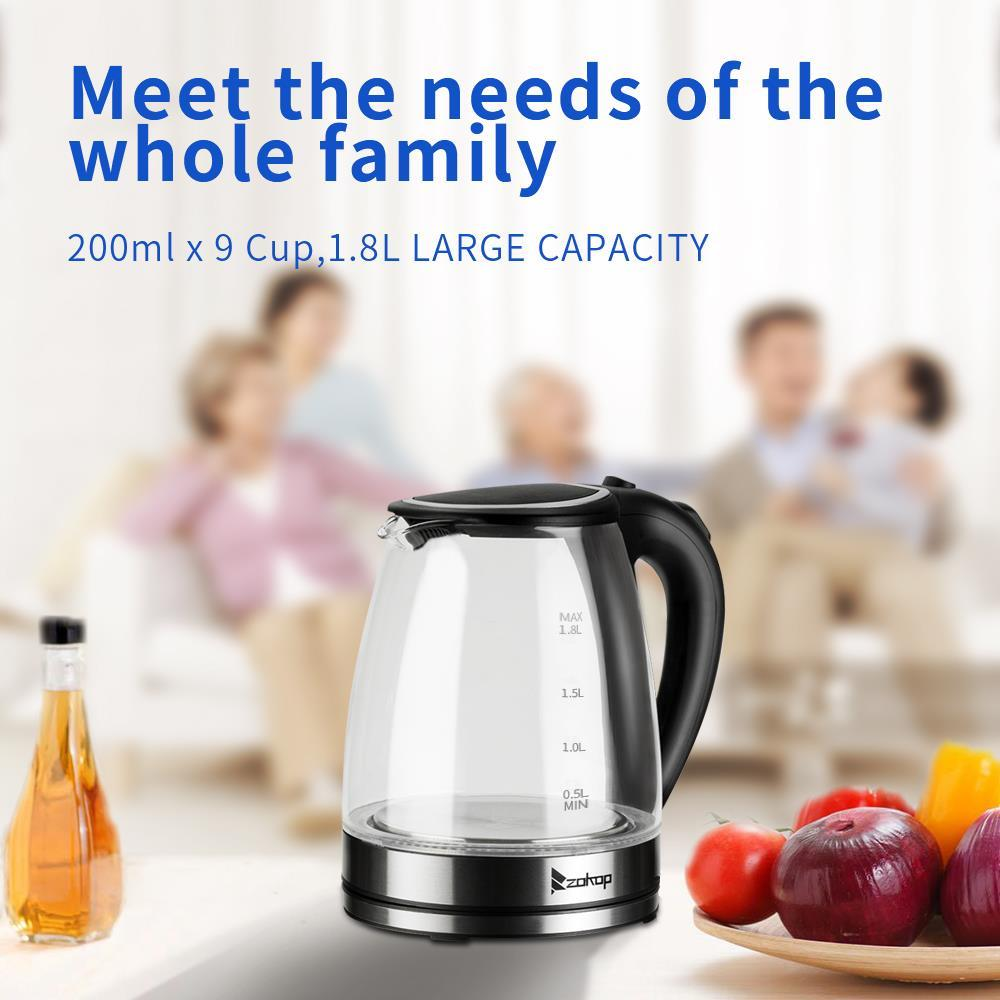 Home 1500W 2.0 L Capacity Electric Glass Kettle Hot Water with Blue LED Light