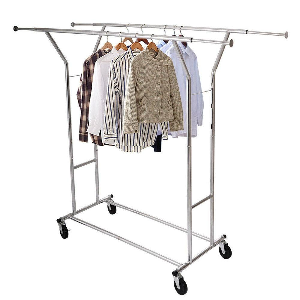 Single//Double 250LB Rail Portable Clothes Hanger Rolling Garment Rack Heavy Duty