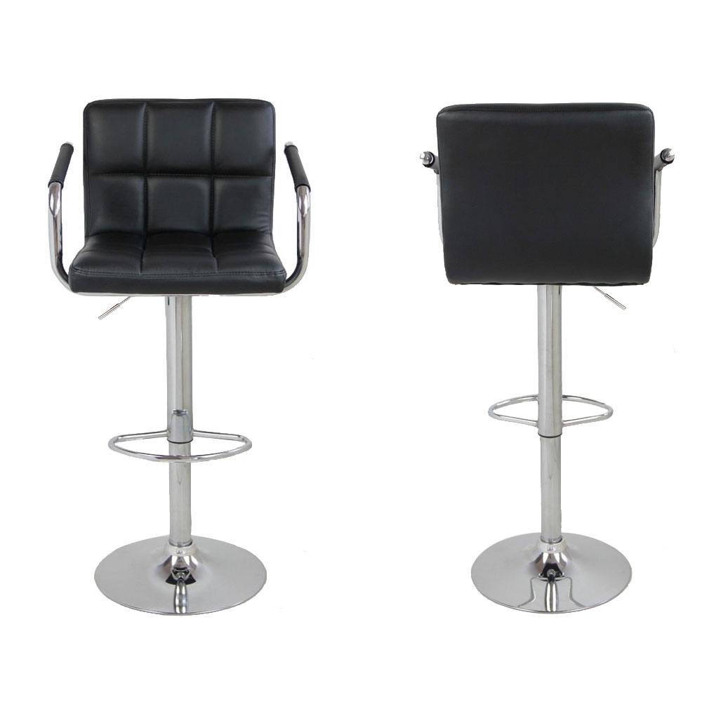 Set of 2 PU Leather Modern Swivel Bar Stool w// Arm Adjustable Hydraulic Barstool