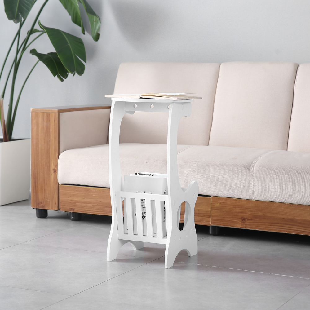 Mobile Small Round Table Balcony Shelf Living Room Tv Lap White Wood Plastic Us Ebay