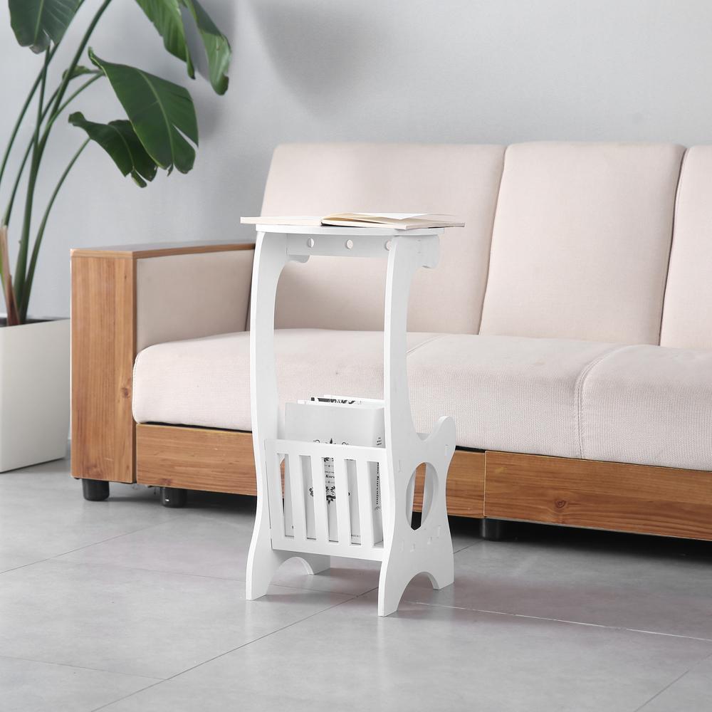 Mobile Small Round Table Balcony Shelf Living Room Tv Lap White Wood Plastic Us Ebay