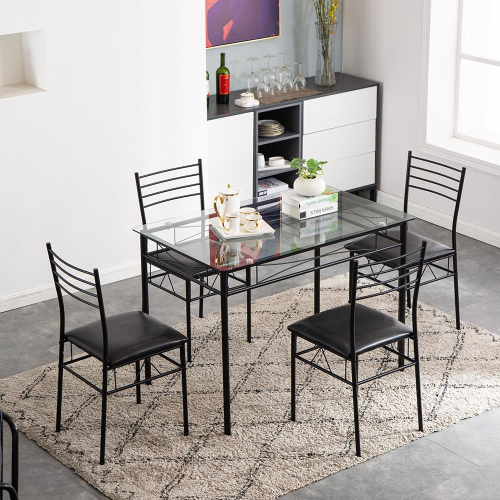 5 piece dining table set black 4 chair glass steel pipe pu