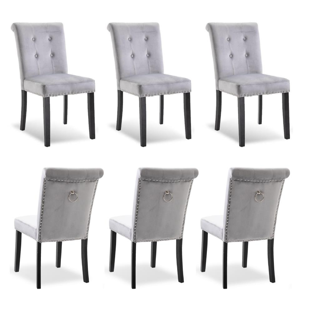 Details about Set of 12 Velvet Dining Chair Tufted Parson Chairs Kitchen  Formal w/ Pull Ring
