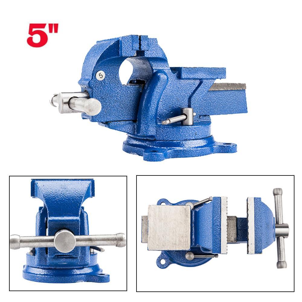 "Blue 8/"" Bench Vise Mechanic Table Top Clamp Press Locking Swivel Base"