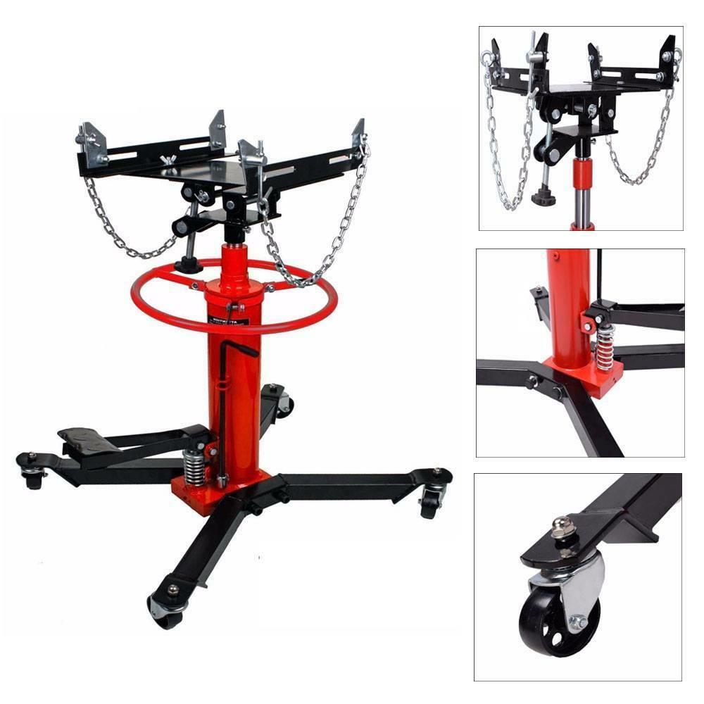 360/° Swivel Wheel Lift Hoist 1660lbs 2 Stage Hydraulic Transmission Jack Stand Lifter Hoist for Car Lift Adjustable Height Hydraulic Telescoping Transmission Jack with Foot Pump