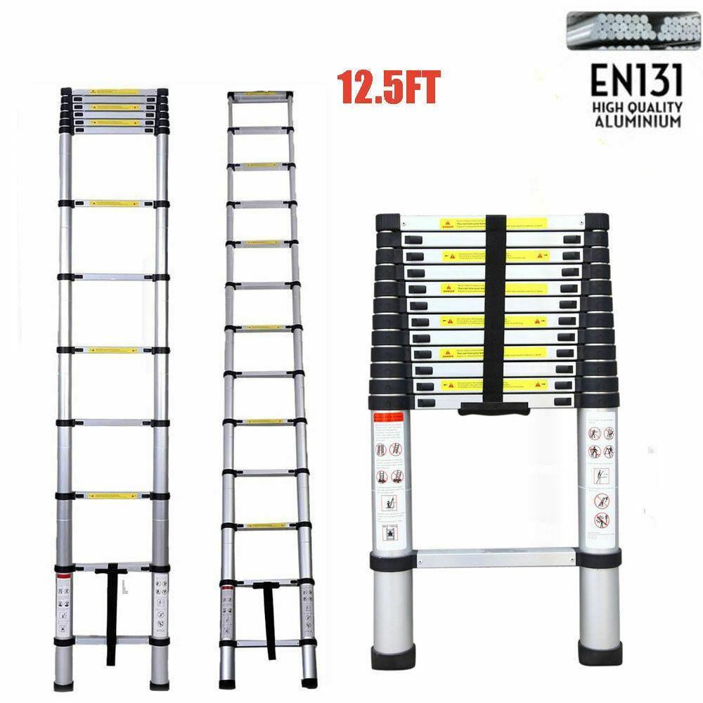 Folding 3.8M Stretchable Ladder Single Side Extension 12-Step Aluminum Straight