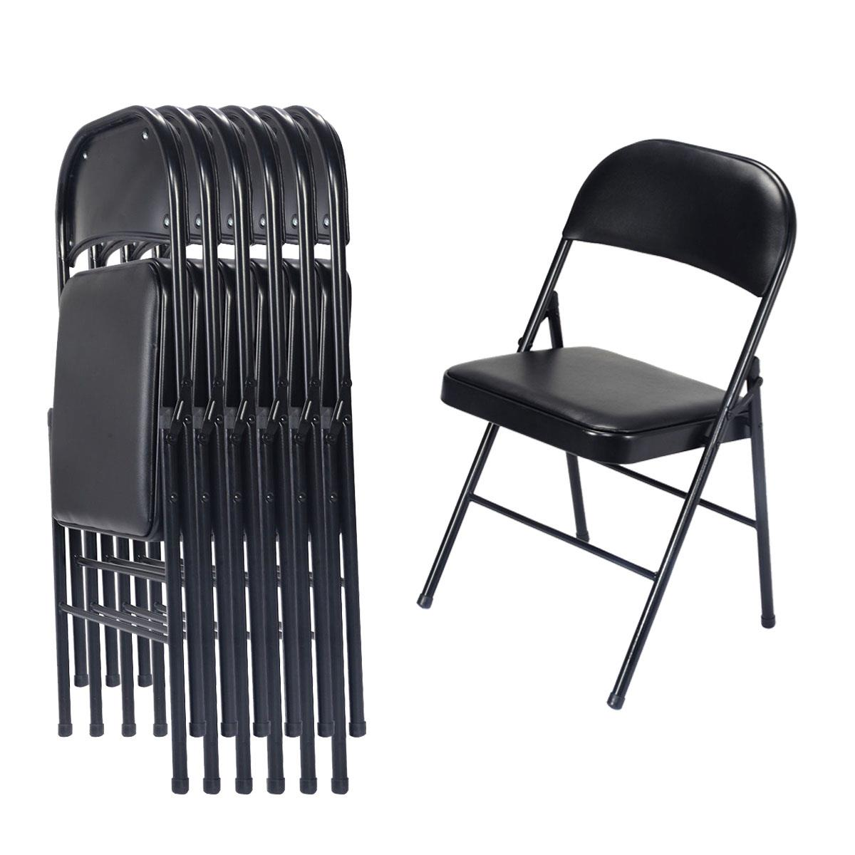 1 x Black Folding Home Easily Stores Away Party Office Reception Soft Padded Tubular Chair Light Weight