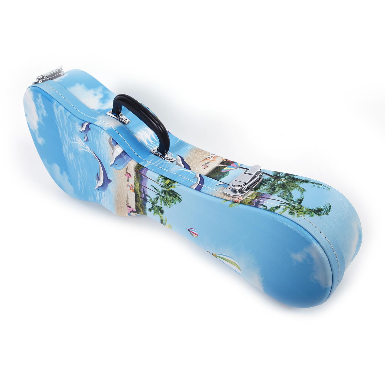"24/"" High Grade Hawaii Style Pattern Ukulele Artifical Leather Hard Shell Case"