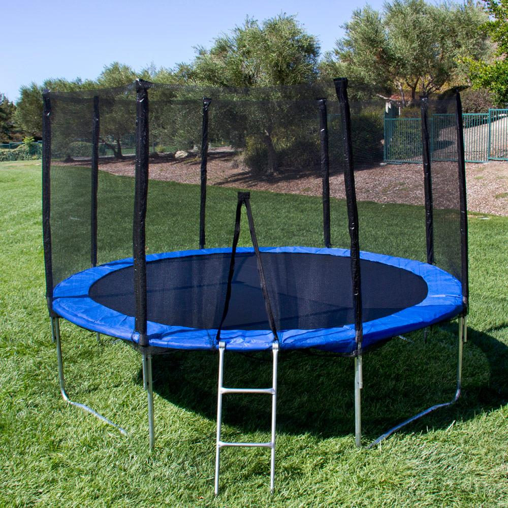 12FT Round Trampoline Combo Safety Bounce Jump Net with Spring Pad/&Ladder