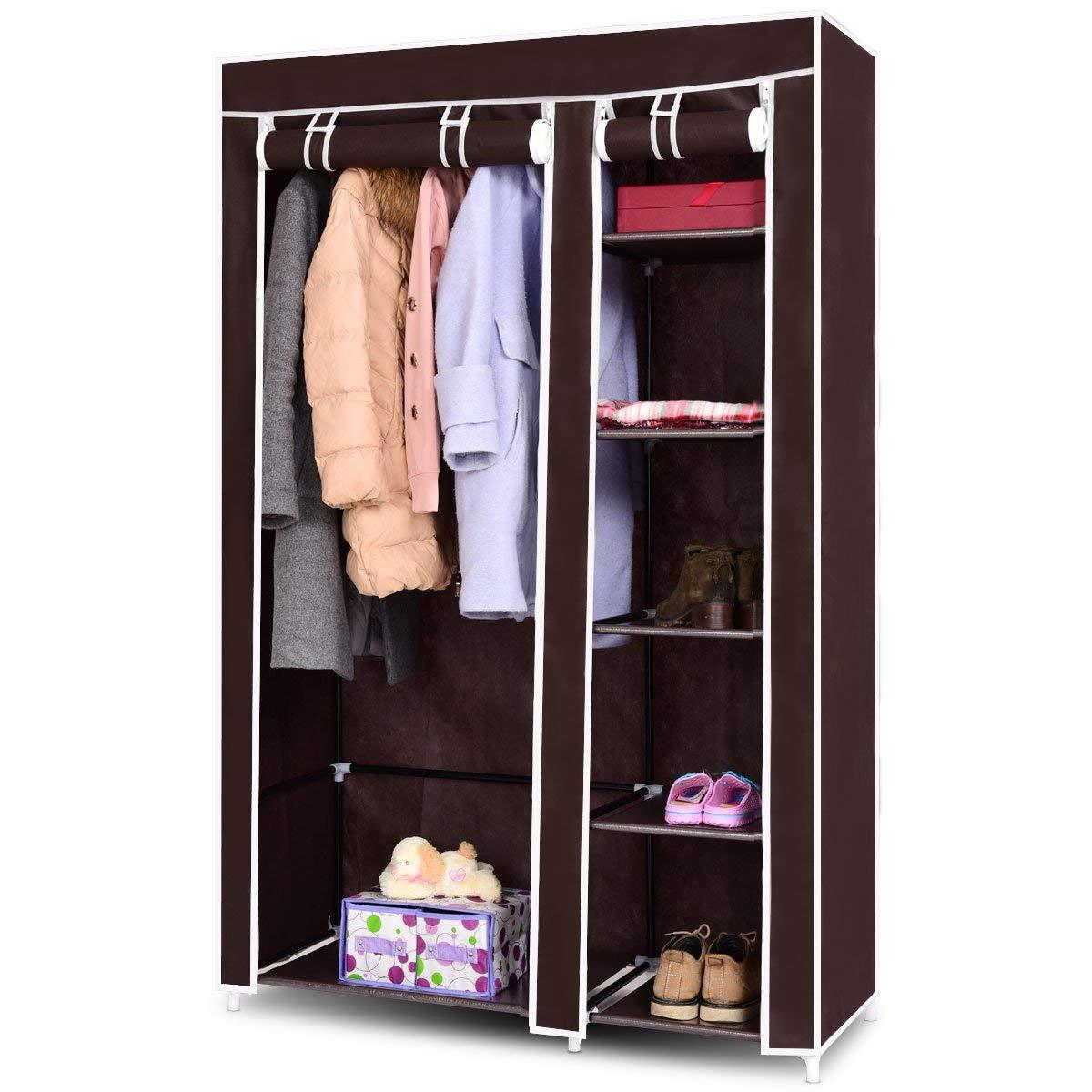 "4-Tier Cabinet Home Storage Closet Organizer 67/"" Wardrobes Shelving Portable US"