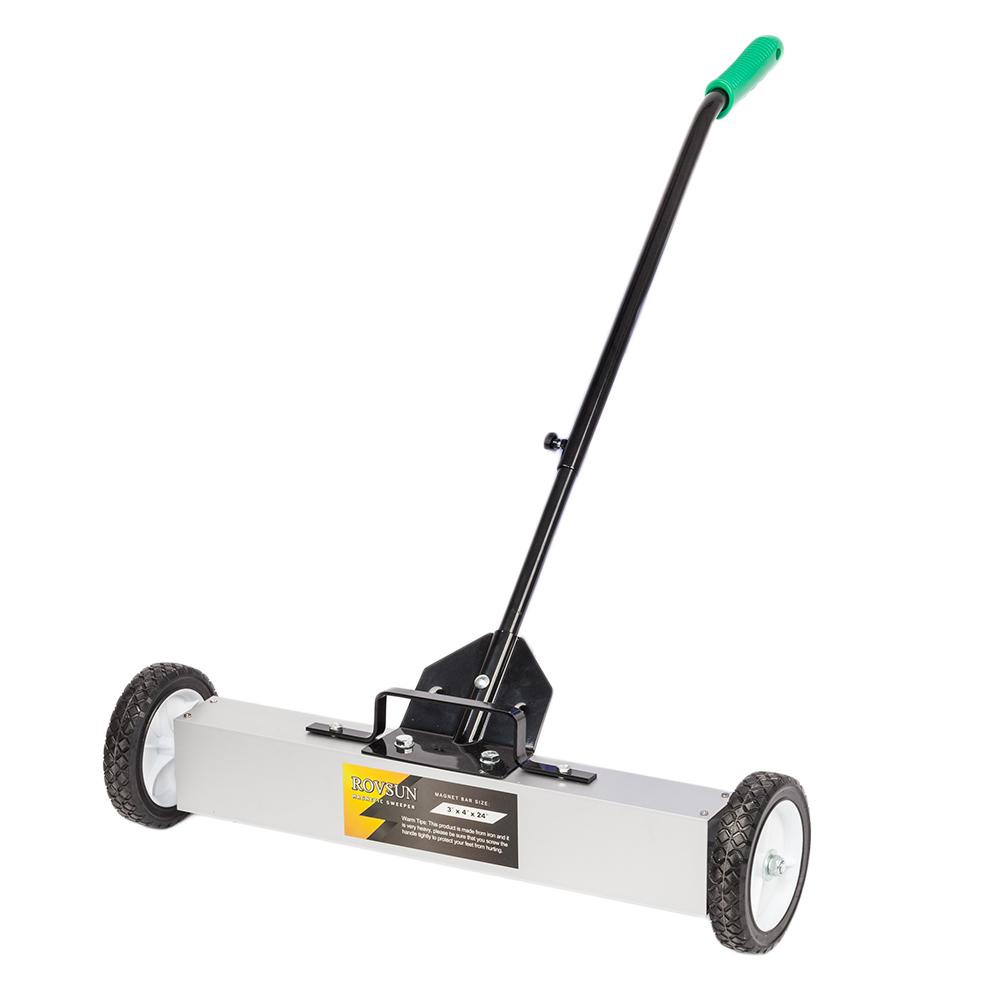 "24/"" Magnetic Floor Sweeper Metal Scrap Screw Rolling Pick Up Roller Push Broom"