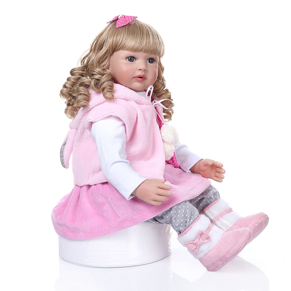 """24/"""" Reborn Toddler Girls with Clothes Pacifier and Rabbit Plush Toy"""