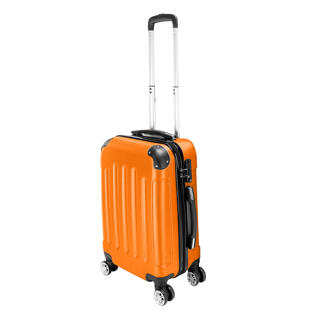 Travel Bags White Orange Portable Suitcase Trolley Handle Luggage Bag