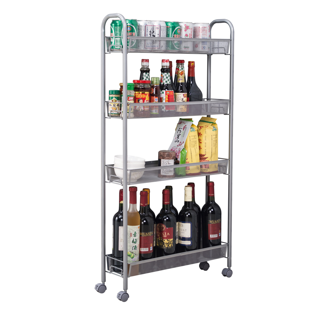 Slide Out Storage Tower 4 Tier Rolling Cart Kitchen Slim Rack With Wheels Ebay