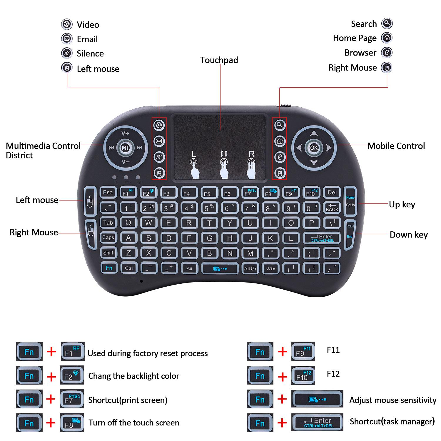 Black Wireless Mini Keyboard /& Mouse Easy Remote Control for Samsung JVC LT-43C770 43 Smart TV