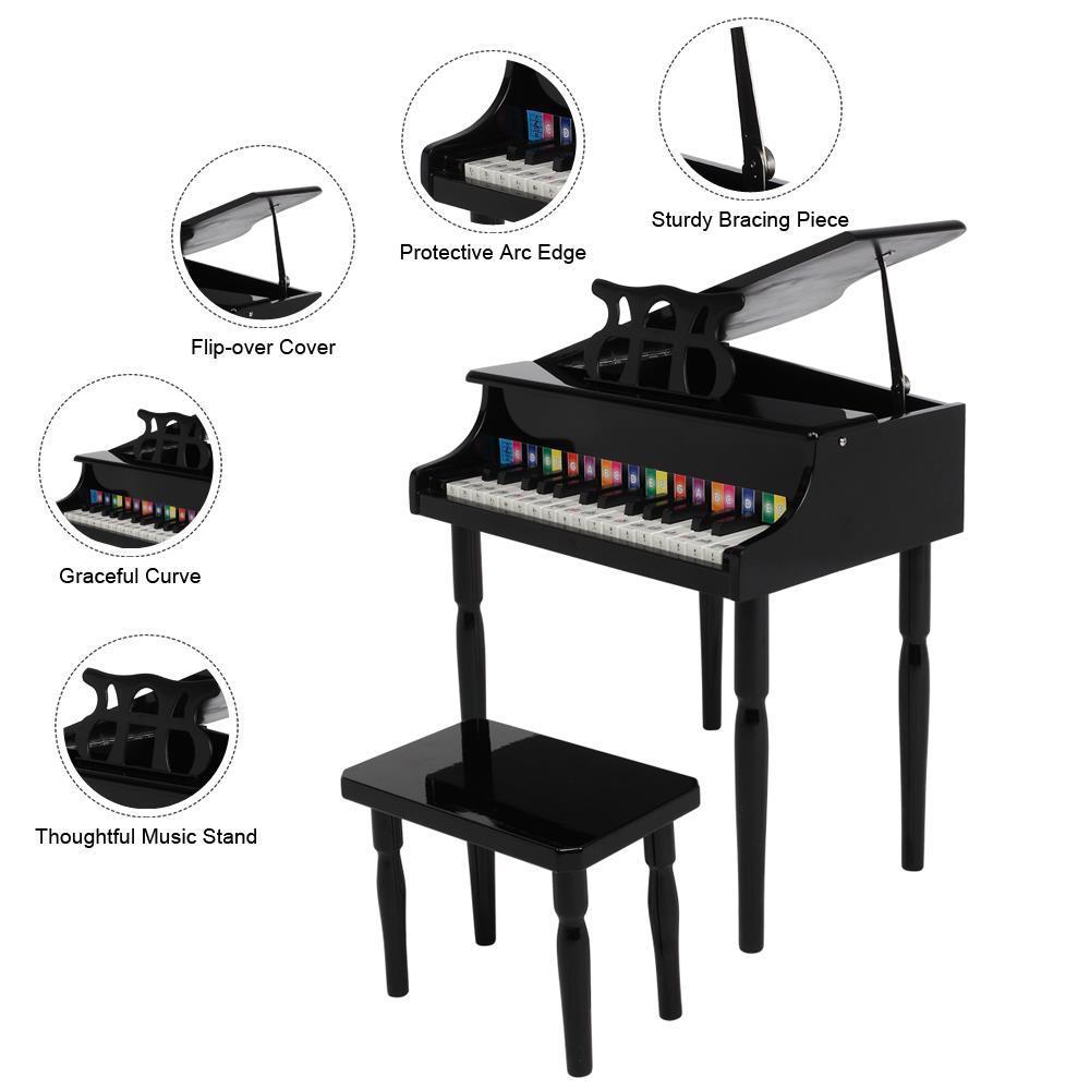 30 Keys Wooden Kids Grand Piano W//Bench Children/'s Musicality Development Black