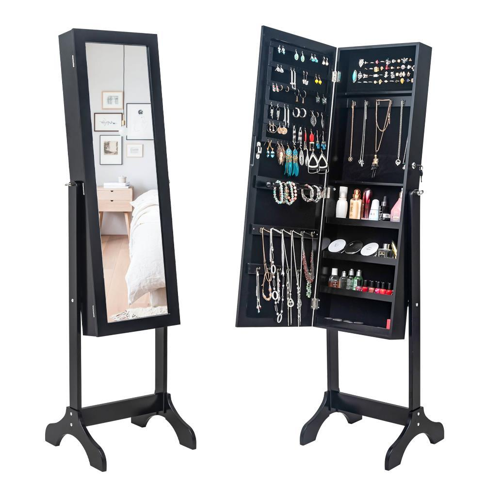 Durable Mirrored Jewelry Cabinet Armoire Mirror Holder Storage Box Freestanding