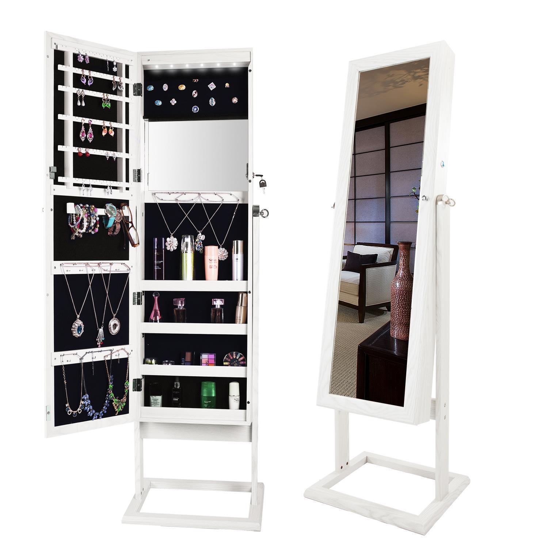 Large Jewelry Mirror Cabinet Storage W/ LED Light Floor ...