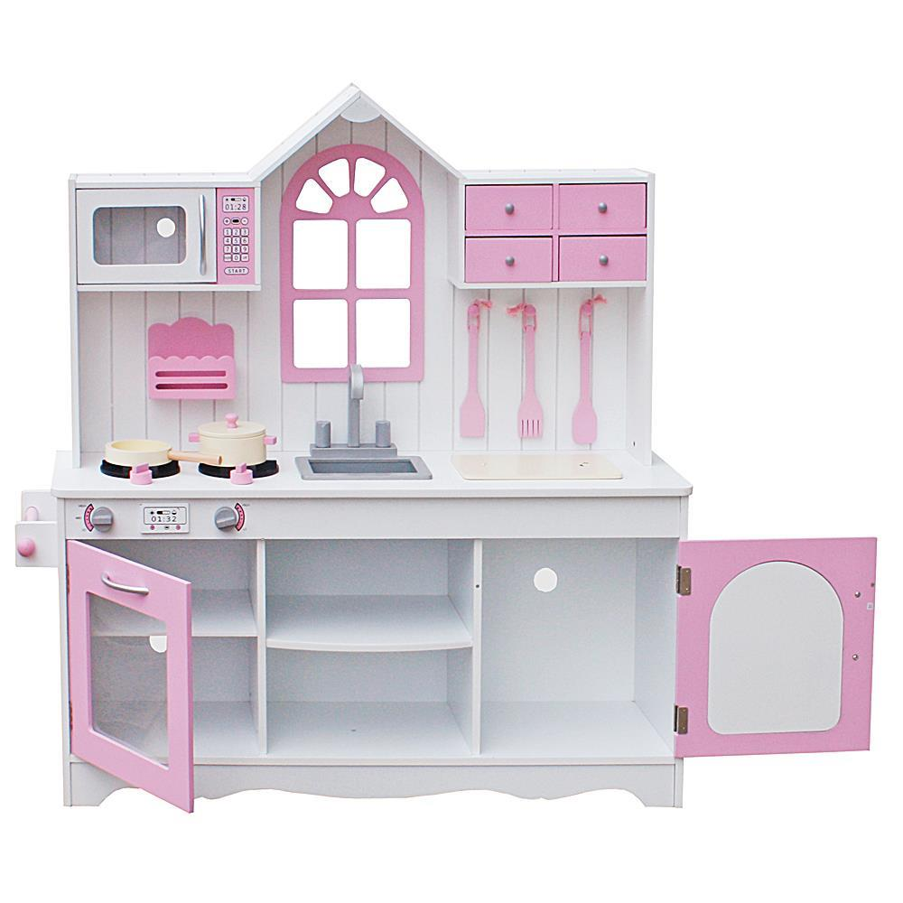 WOODEN PLAY KITCHEN LARGE CHILDRENS TOY KIDS PLAY SET COOKING ROLE PRETEND PINK