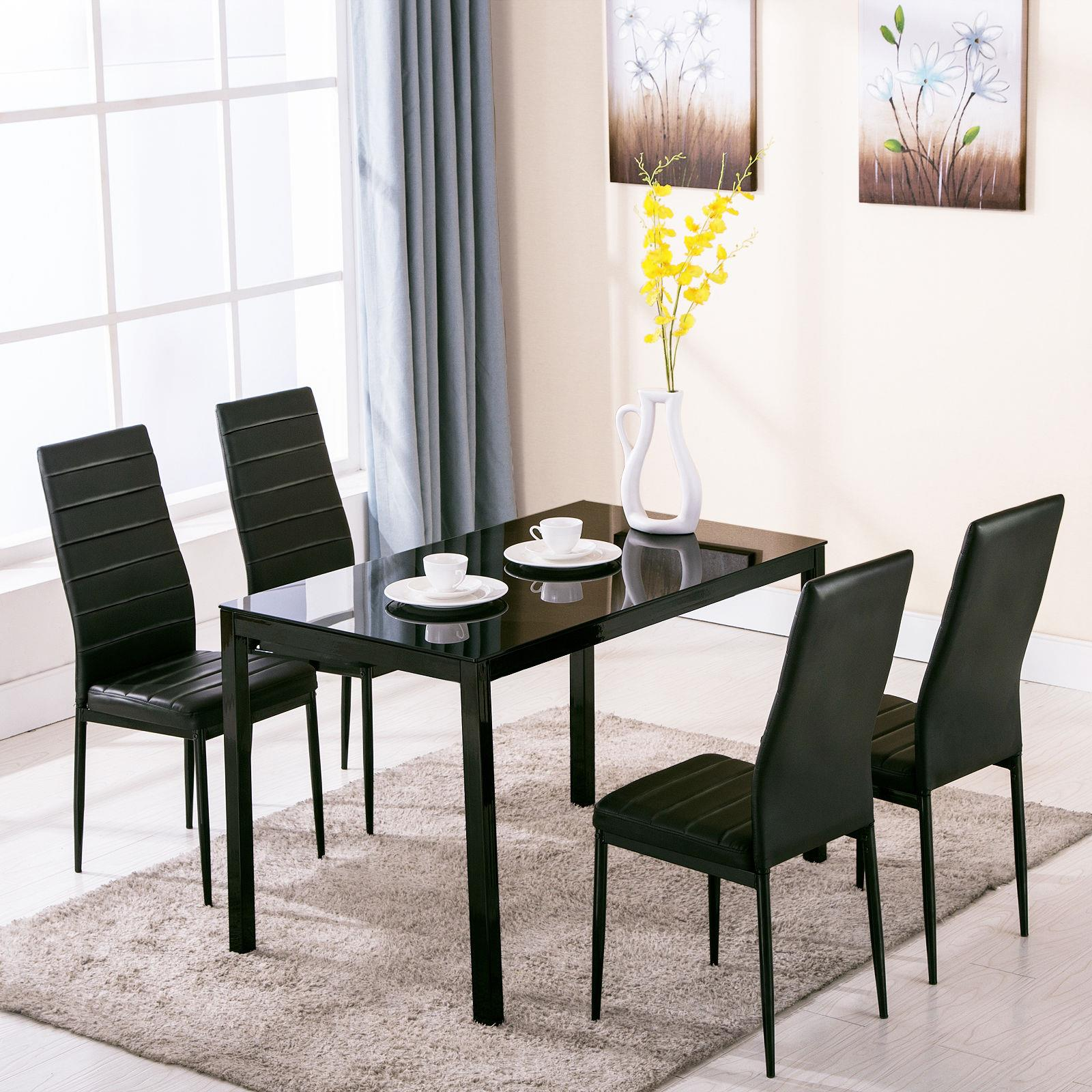 Details About Set Of Glass Metal Dining Table Furniture And 4 Chairs Breakfast Kitchen Room