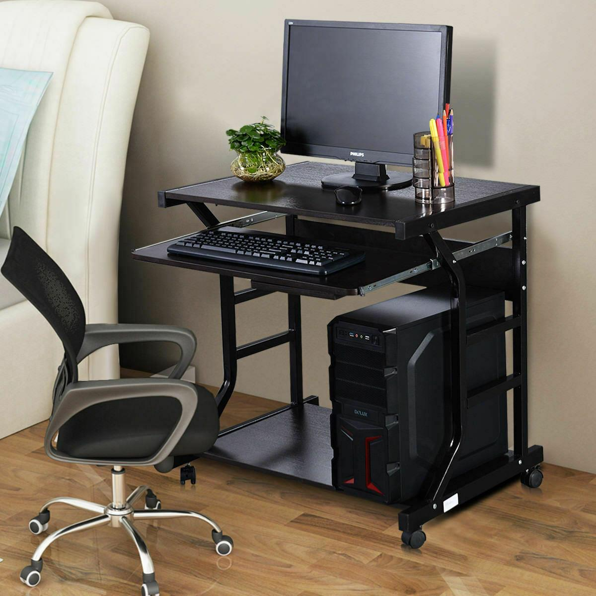 - Computer Desk Rolling Writing PC Table Laptop Home Office