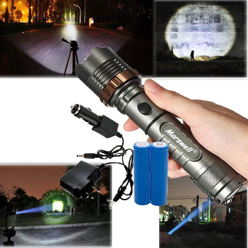 New 10000Lumen Zoomable LED Flashlight Torch Lamp 18650 Light Hiking Outdoor
