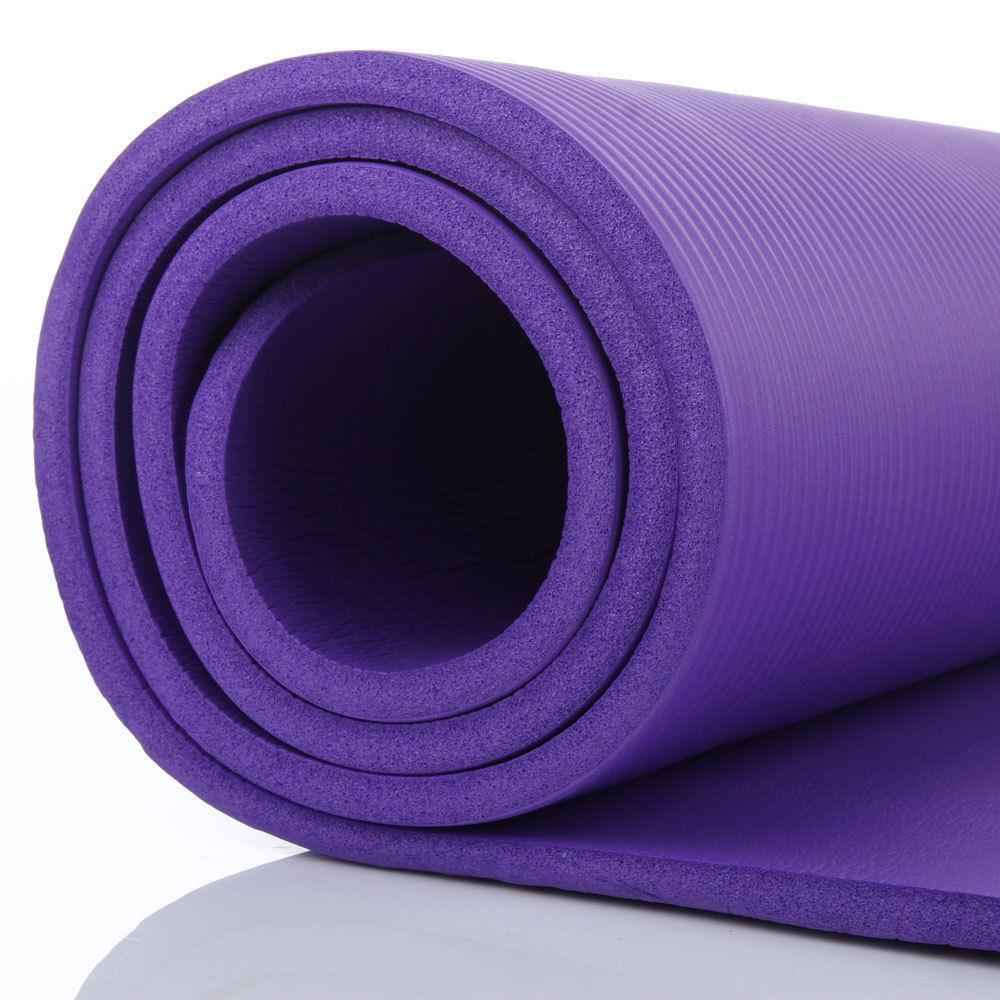 72in x 24in 10mm Yoga Mat Exercise Washable Meditation Gym Pad w/Carry strap 17