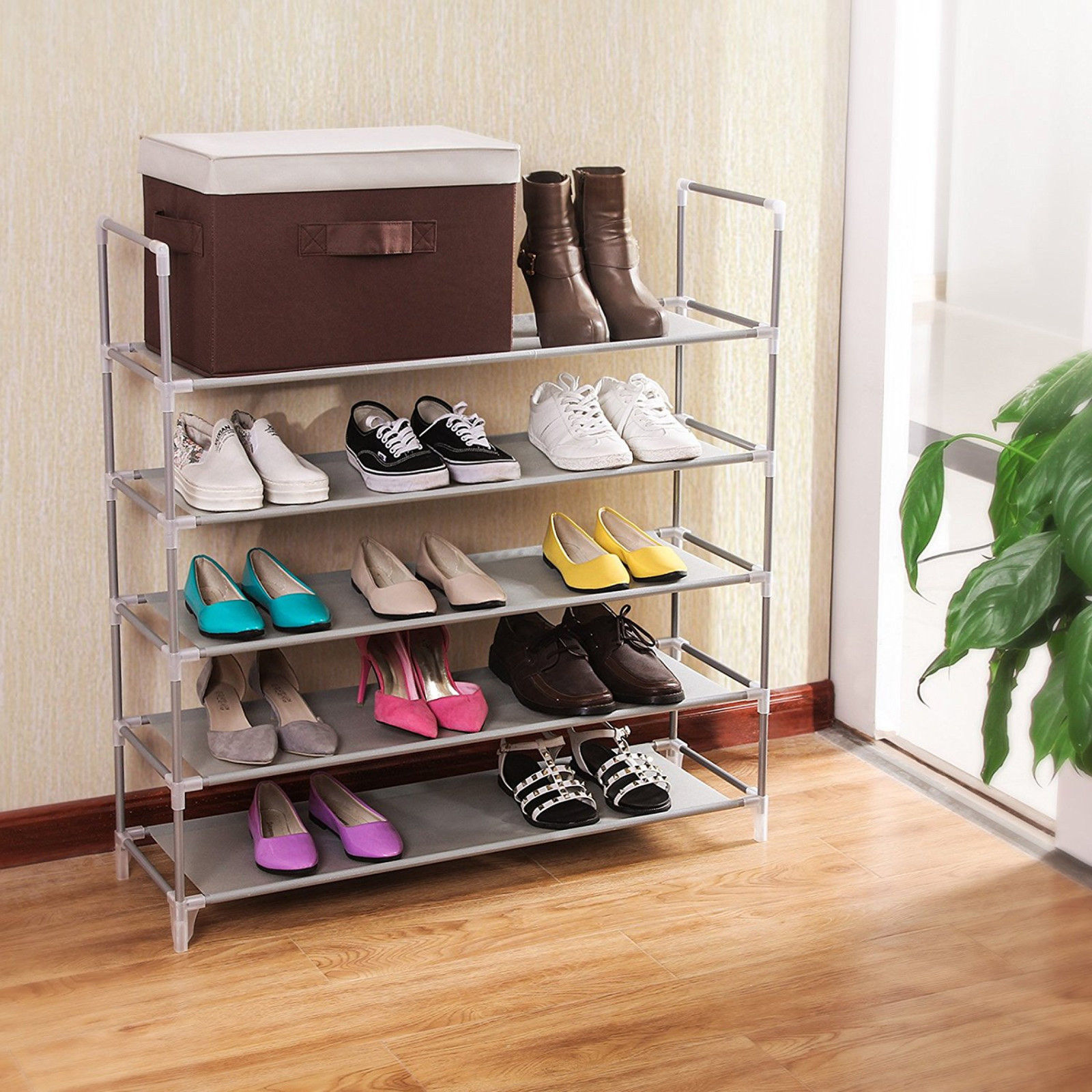 5 Tier Home Storage Organizer Cabinet Shelf Space Saving Shoe Tower Rack Stand