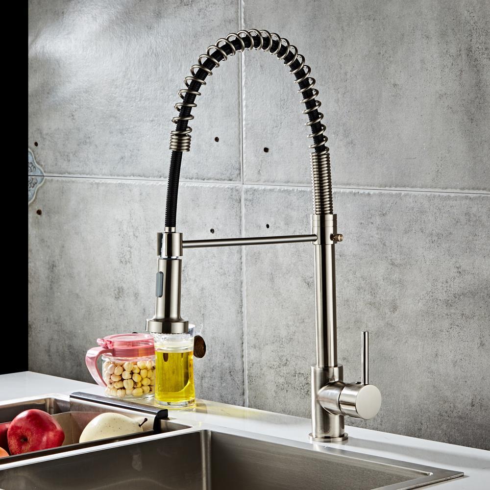 Copper Kitchen Sink Faucet Swivel Spout Single Hole Mixer Tap Pull Down Sprayer 713741952148 Ebay