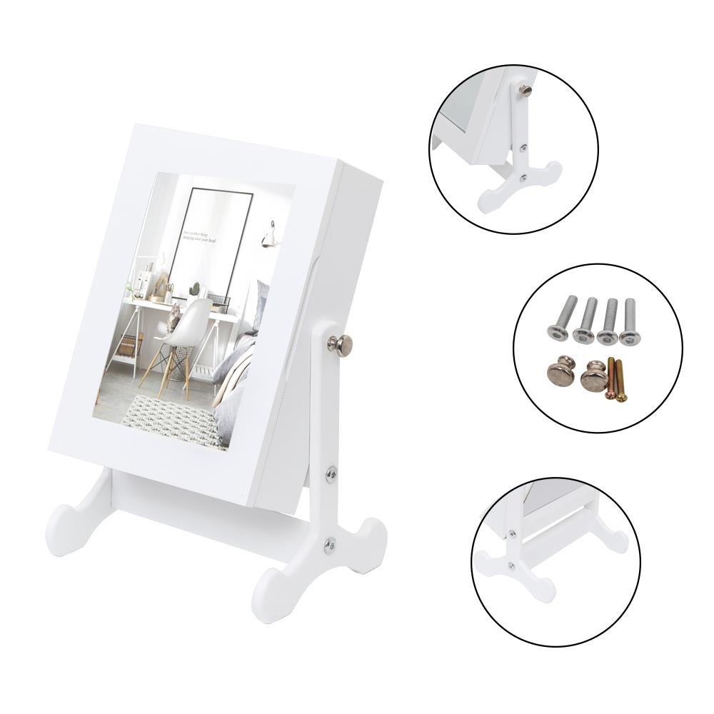 """12"""" Mirror Jewelry Cabinet Organizer Small Tabletop Wooden ..."""