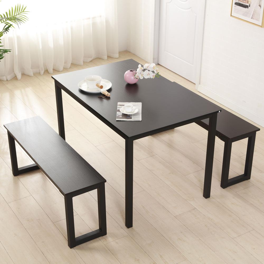 Details about US 3Pcs Modern Rectangle Dining Table Sets + 2 Benches Home  Restaurant Furniture