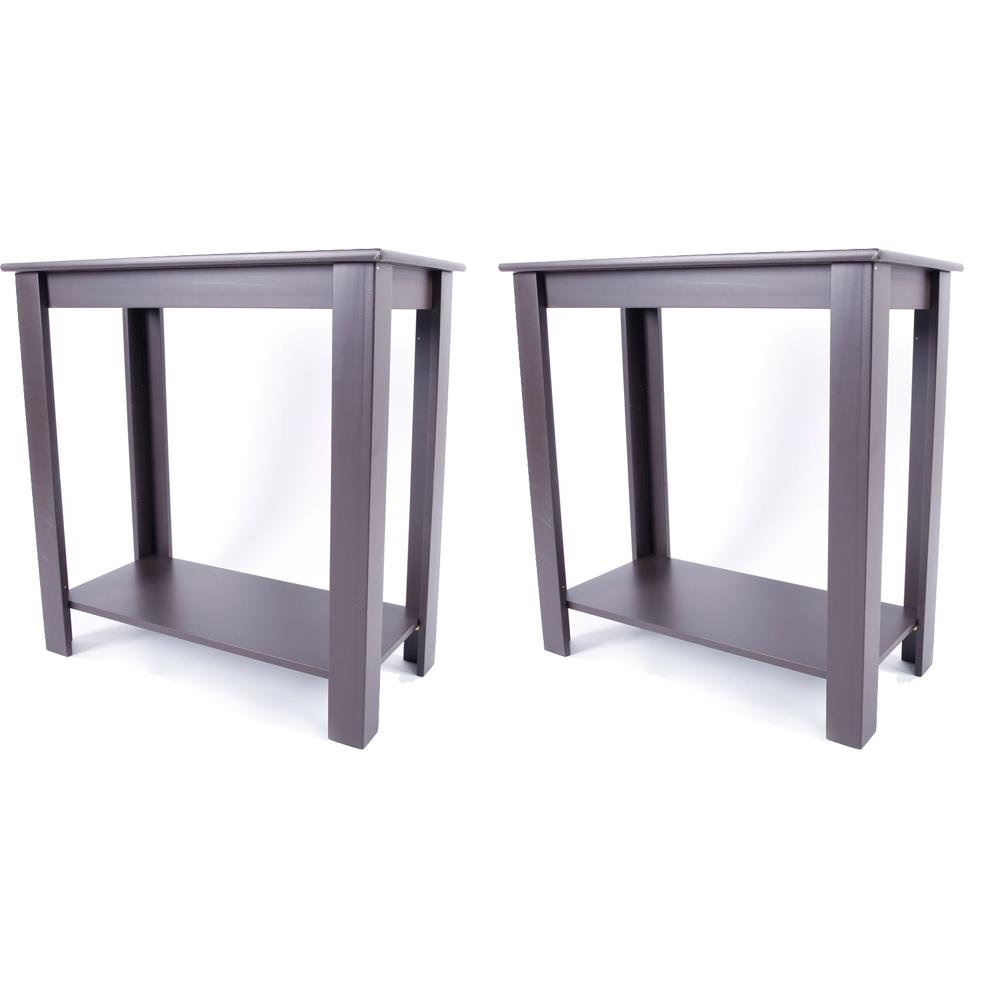 Details about Set of 2 Narrow Brown Chair Side Table Coffee Sofa Wooden End  Shelf Living Room