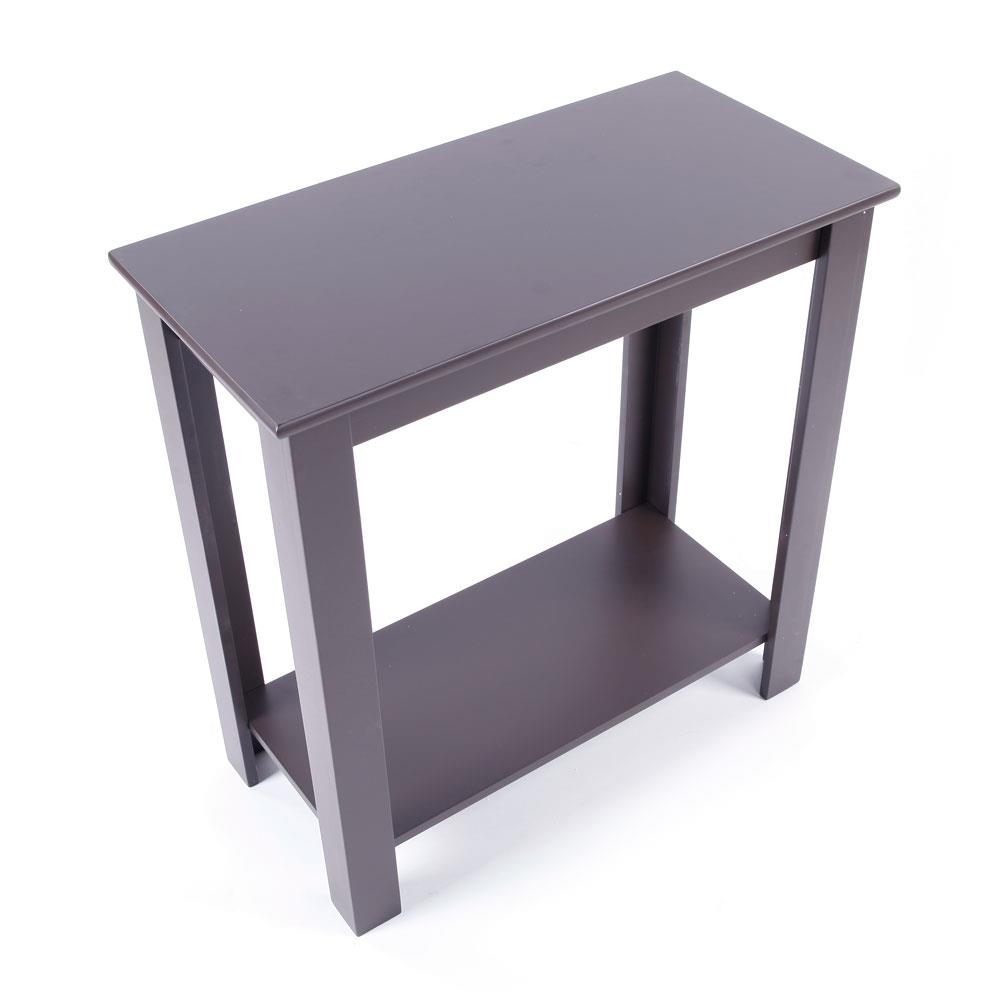 Details about Narrow Brown Chair Side Table Coffee Sofa Wooden End Shelf  Living Room Furniture