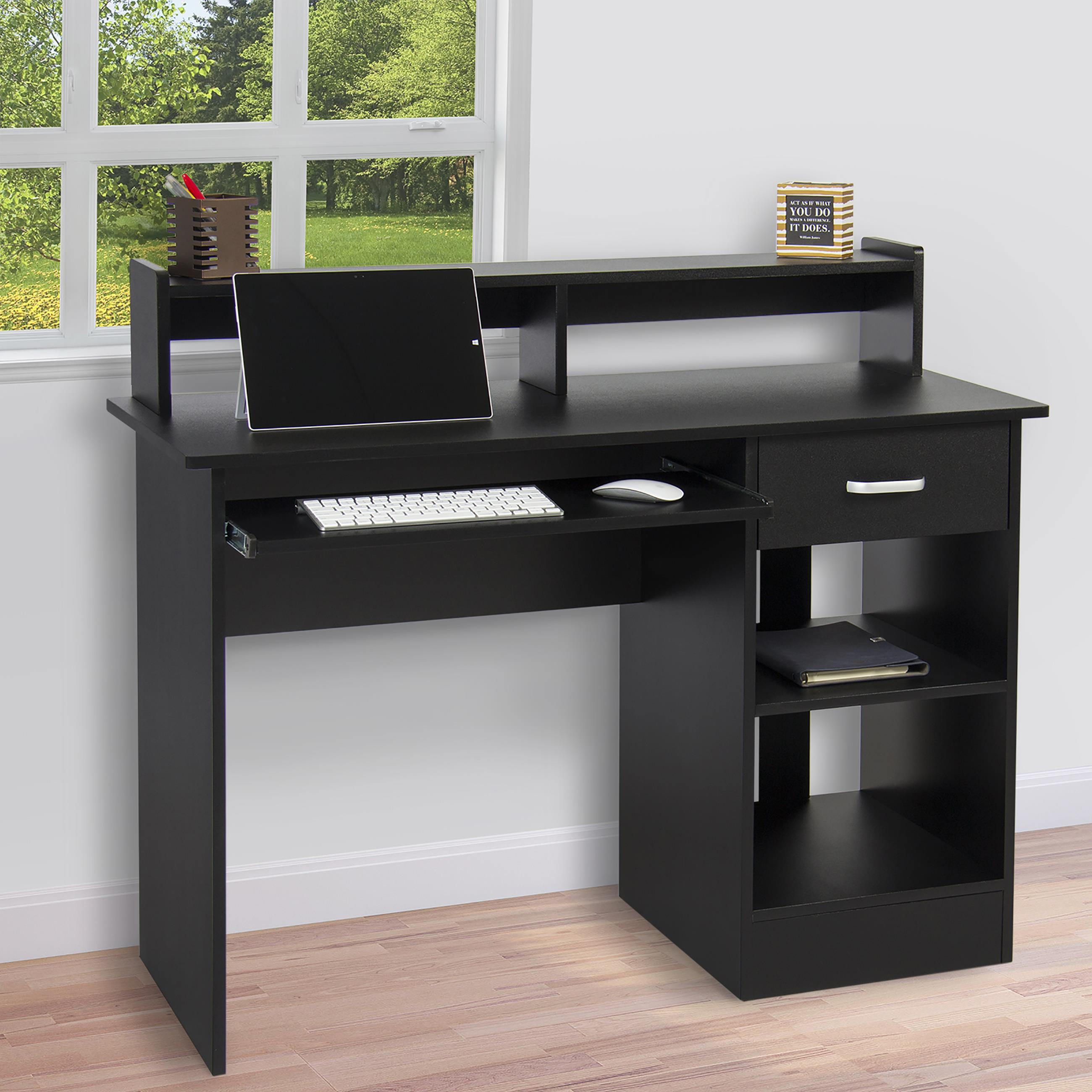 Black Computer Desk Home Office Workstation Laptop Table Drawer Keyboard Tray Ebay